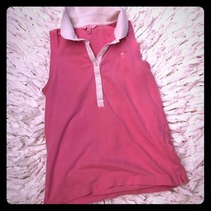 Lilly Pulitzer Collar Partial Button Down Tank Top